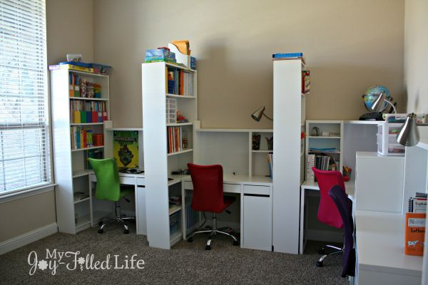 Classroom Design Hacks ~ Large family homeschool room tour ikea billy desk