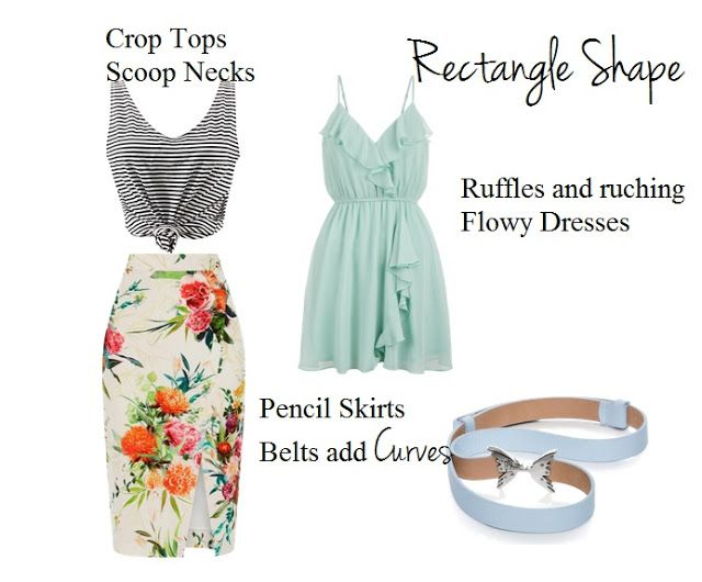 How to dress for a rectangle shape. Simple tips to dress your body type                                                                                                                                                     More