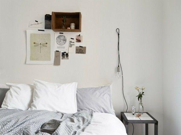 Schlafzimmereinrichtung Naturelemente Wand präpariertes Insekt Holzkasten