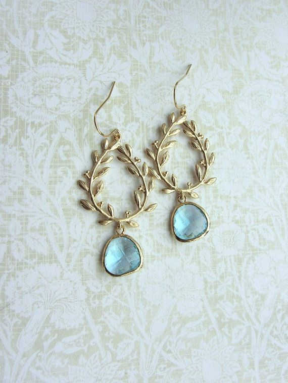 Laurel Wreath Earring Aqua Aquamarine Blue Gold Plated by Marolsha