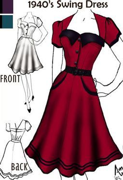 1940s plus swing dresses, gowns - Google Search                                                                                                                                                                                 More
