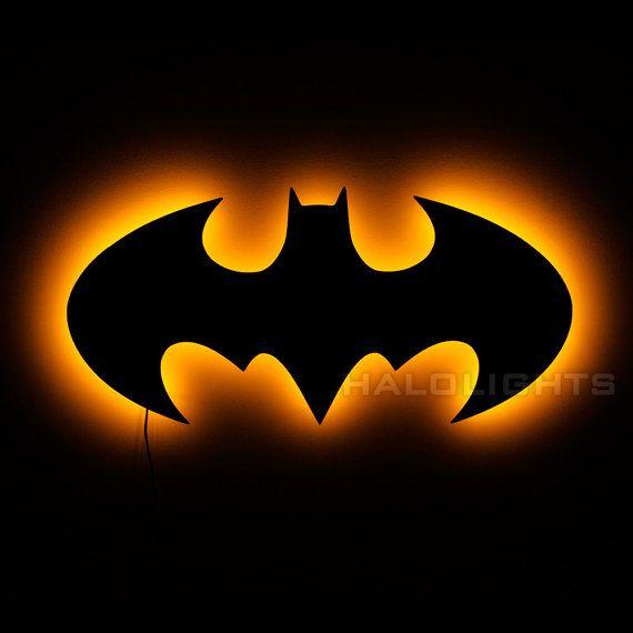 Batman Lamp  Illuminated Batman Logo Wall Sign  1998 by HaloLights