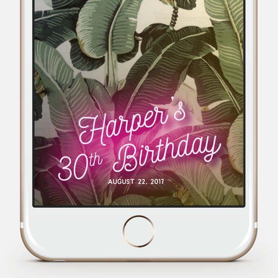 Custom Snapchat Geofilter Birthday · Snapchat Birthday Geofilter · 30th Birthday Gift for Her · Birthday Filter · Neon · Personalized Gift