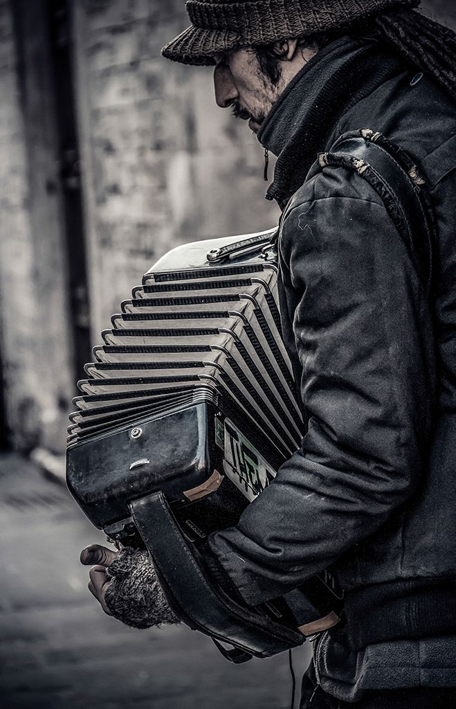 ♫♪ Music ♪♫ black & white photography man vvv Accordion_2 by Simona Capriani