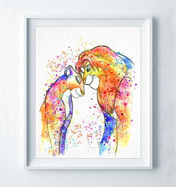 Simba and Nala Watercolor Print The Lion King by DROPINDROP