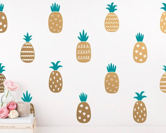 Pineapple Wall Decals 2 Color Pineapple Decals Gold Decor