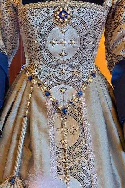 Stunning detail work on a Tudor Elizabethan gown
