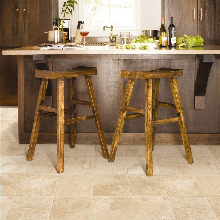 Beige Sandstone #laminate Tile Floors For Kitchen.