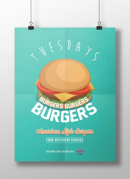 Poster Design for The Havelock Hotel's Daily Meal Deals. Burgers!!