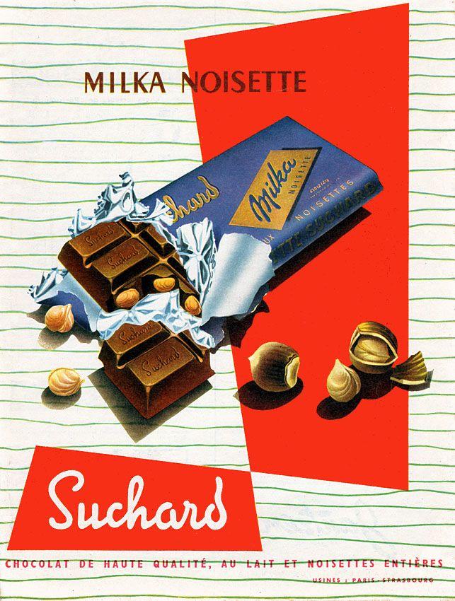Publicité Suchard - 1958 - chocolat Milka noisette -