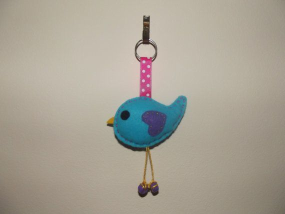 Bella Bluebird Felt Keyring by MandaPandasCrafts on Etsy, £3.00