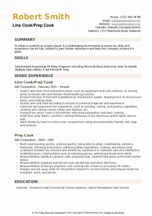 Line Cook Resume Sample Inspirational 67 With Line Cook Resume Samples Resume Format In 2020 Job Resume Examples Resume Examples Resume Objective Examples