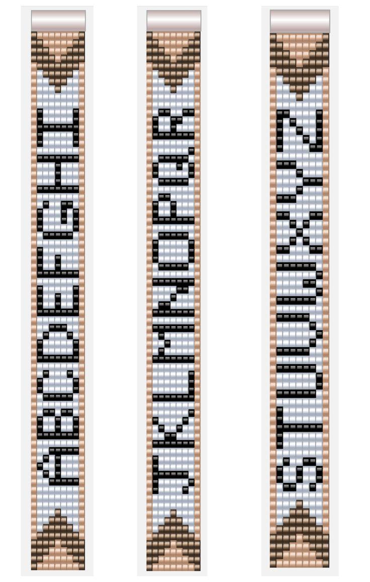 Alphabet Letter Patterns for Miyuki Beadloom Bracelets 7 columns A-Z