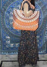 Mandala Indio Hecho a Mano Algodón Bolso De Compras Bolsa de playa Bolsón Grande Naranja Ombre