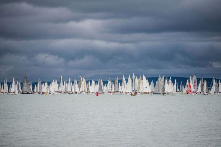 Competitors sail after the start of the 48th Blue Ribbon yachting race around Lake Balaton near Balatonfured, 124 kms southwest of Budapest, Hungary, 14 July 2016. The sailboats will cover a 155 km distance within 48 hours during the oldest round-the-lake yachting race of Europe. (Boglarka Bodnar/EPA)