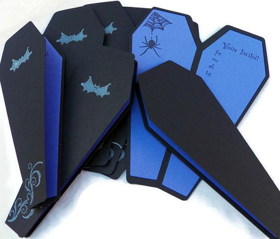 Handmade Halloween Party Invitation Black and by ElegantlyHaunted