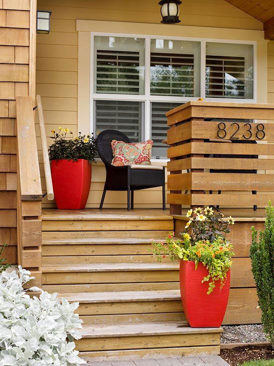 Add Container Plants  Turn your home's entry into an inviting focal point by adding a few well-chosen and nicely arranged plants on the front porch. Vary the plant and container sizes and arrange them on multiple levels.