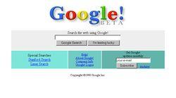 Google's homepage in 1998