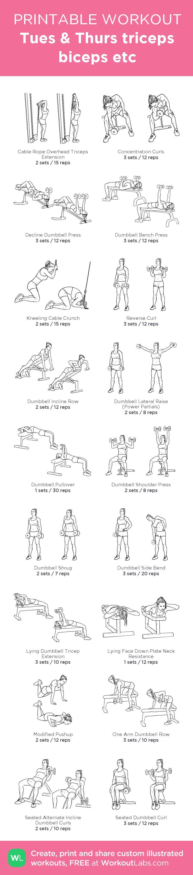 Tues & Thurs triceps biceps etc:my custom printable workout by @WorkoutLabs #workoutlabs #customworkout