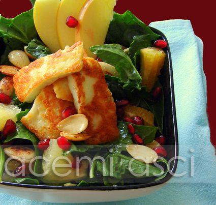 acemi aşçı: ıspanaklı hellim salatası (sağlıklı salata)