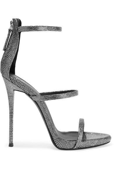 Giuseppe Zanotti - Metallic Lizard-effect Leather Sandals - Silver - IT37.5