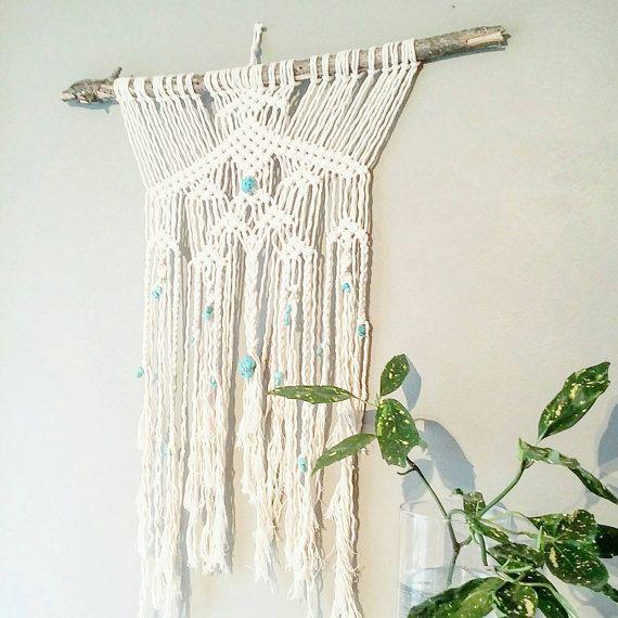 Macrame Curtain- Macrame Wall Hanging~ Dorm Furniture~ Boho Wall Decor~ Wedding Decor~ Turquoise Wall Accent- Bohemian Decor- Boho Decor https://www.etsy.com/ca/listing/494715494/macrame-curtain-macrame-wall-hanging