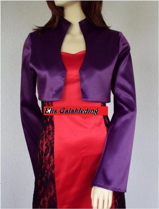 Elegante gala jasje met 3/4 mouwen.Gemaakt van satijn.Kleuren: wit, rood, paars en zwart.Andere kleuren op aanvraag.Maten: 34 t/m 48.Levering in circa 10 werkdagen. - € 44,00