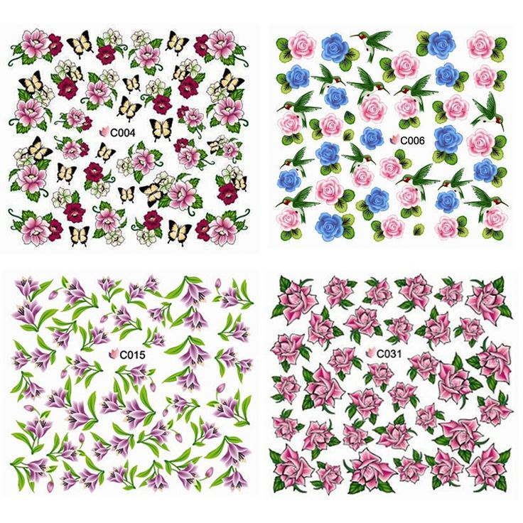 Flowers Water Tranfer Nail Stickers,20sheets/lot Designed DIY Full Cover Nail Decals,Nail Beauty Wraps,Nail Art Supplies Decor $7.48
