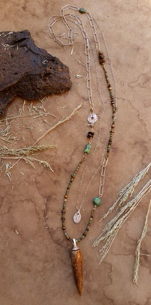 Taos layering necklace duo fossil ivory artifact fine for Turquoise jewelry taos new mexico