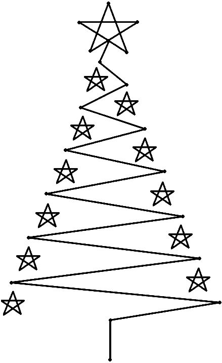 outline for our christmas tree made of lights on the wall...nobody has time to clean up pine needles