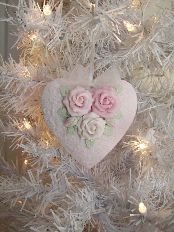 Beautiful shabby chic ornament...handmade roses on a heart with pearls and a touch of sparkle. I believe the roses, leaves and heart are made from clay. ~ Love ~