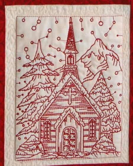 Free Redwork Quilt Patterns | ... Free Projects and Ideas. Christmas Eve Wall Quilt with redwork