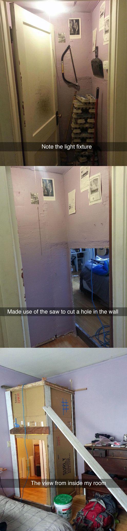 """Dieser Streich, bei dem diesem Mitbewohner ein neues """"Zimmer"""" gebastelt wurde."""