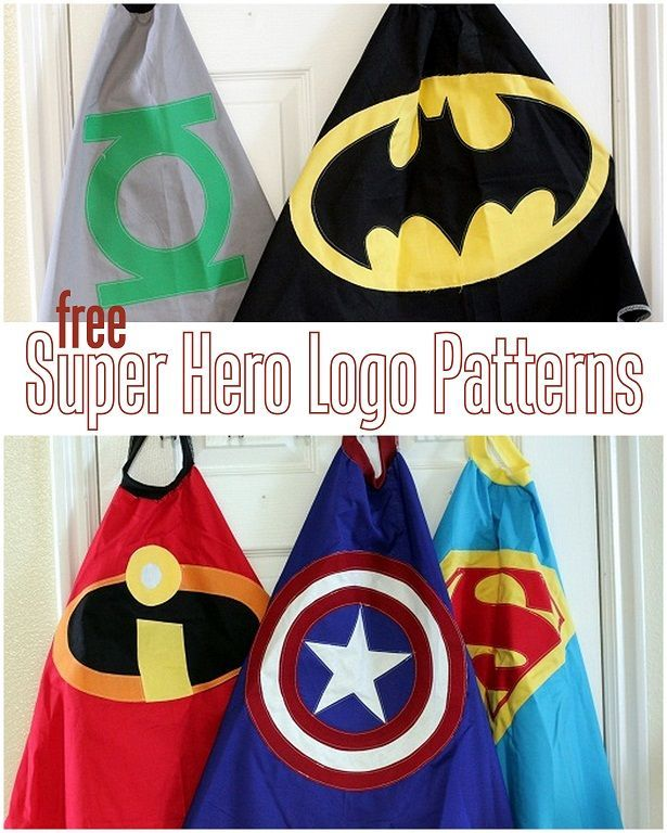5 FREE Super Hero Cape Logo Patterns for capes, decor, party paraphernalia and more!