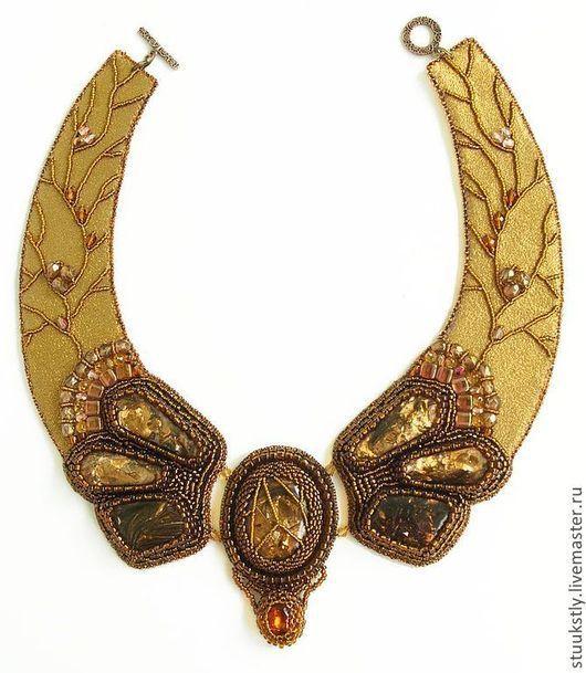 золотое крупное бисерное колье воротник колье из бисера вышивка по коже медное бронзовое эльдорадо роскошное древнее необычное украшение на шею подарок женщине маме сестре