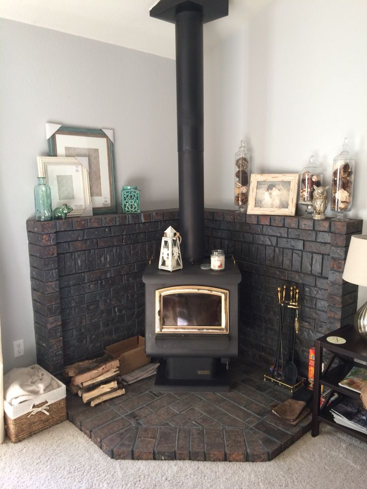 Updated Look On A Corner Wood Burning Stove Fireplace