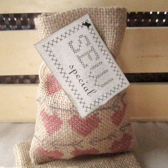 Transform a burlap bag into a stamped valentine goodie bag for that sew special person. #diy