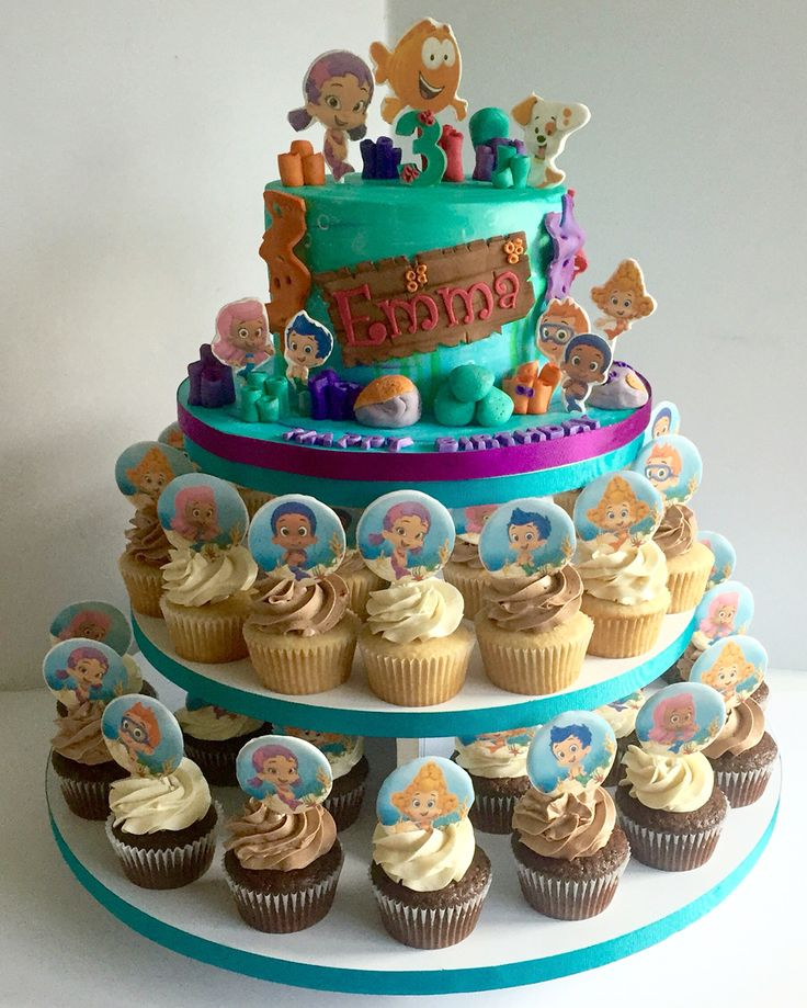 Bubble Guppies cake & cupcakes
