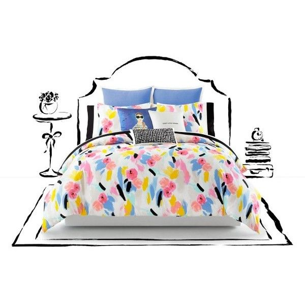Kate Spade New York Paintball Floral Comforter Set ($135) ❤ liked on Polyvore featuring home, bed & bath, bedding, comforters, cotton comforters, flowered comforters, kate spade bedding, cotton bedding and floral bedding