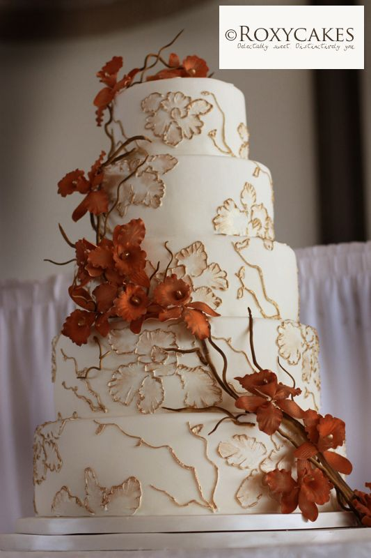 Beautiful Fall Wedding Cake By Roxy Cakes Featuring Burnt