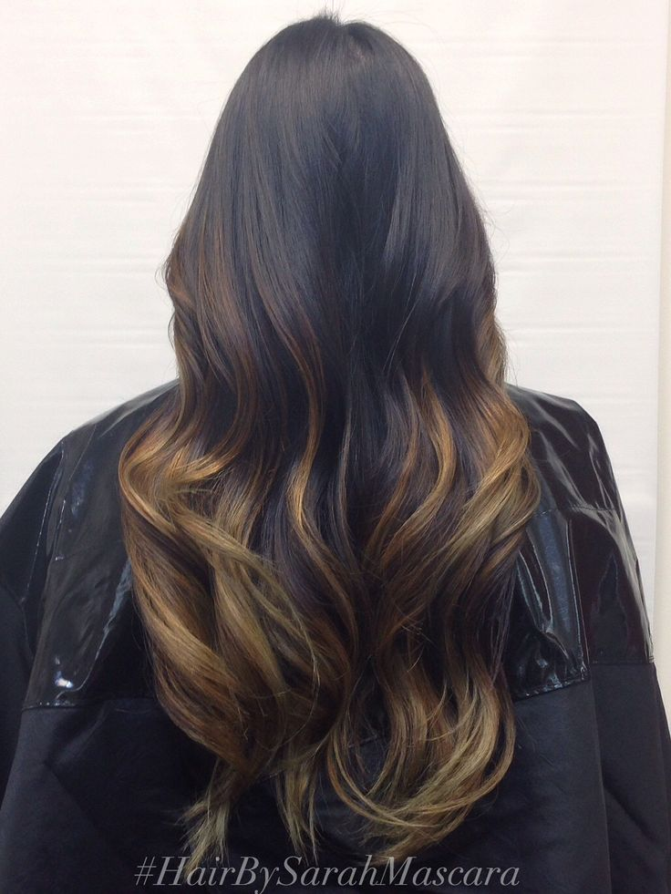 High contrast balayage ombre in dark hair