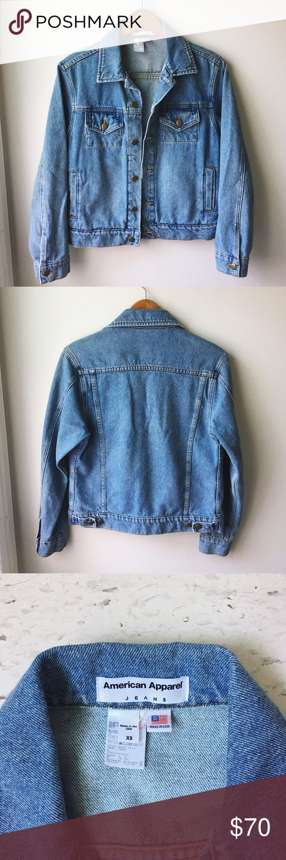 American Apparel Denim Jacket Unisex Denim jacket from American Apparel. In medium wash color. No longer available from American Apparel~ Good condition, only flaw is some yellow-ish marks on one sleeve (refer to last pic). Will consider offers. American Apparel Jackets & Coats Jean Jackets