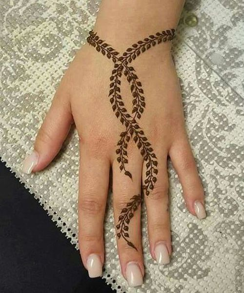 Cute Back Hand Henna Tattoo Designs