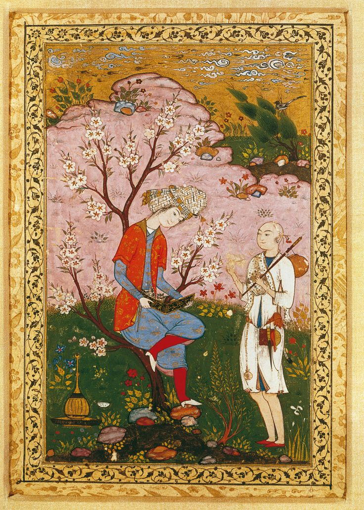 Youth And Dervish In Conversation | Safavid, circa 1590 CE, Iran | Opaque watercolour and gold on paper; page 32.2 x 20.2 cm; image 19.9 x 12.7 cm