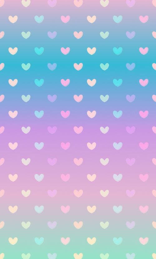 Gradient pastel heart wallpaper