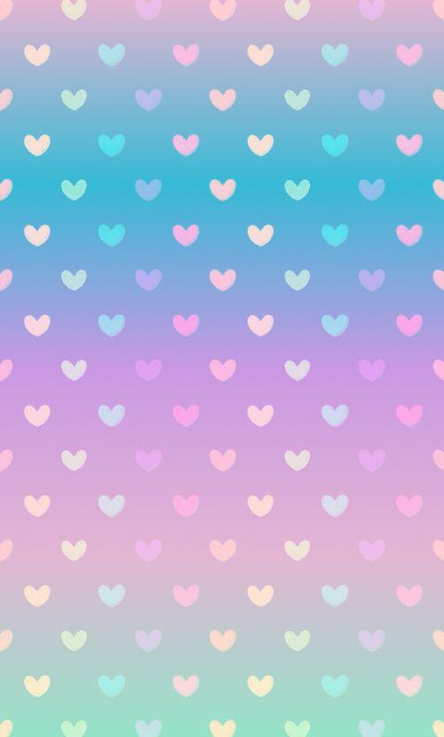 Gradient pastel heart wallpaper