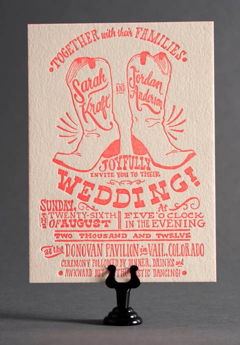 hello cowboy boot wedding invite. hoedown showdown! Just different Boots and turquoise...maybe add a burlap bow? :)