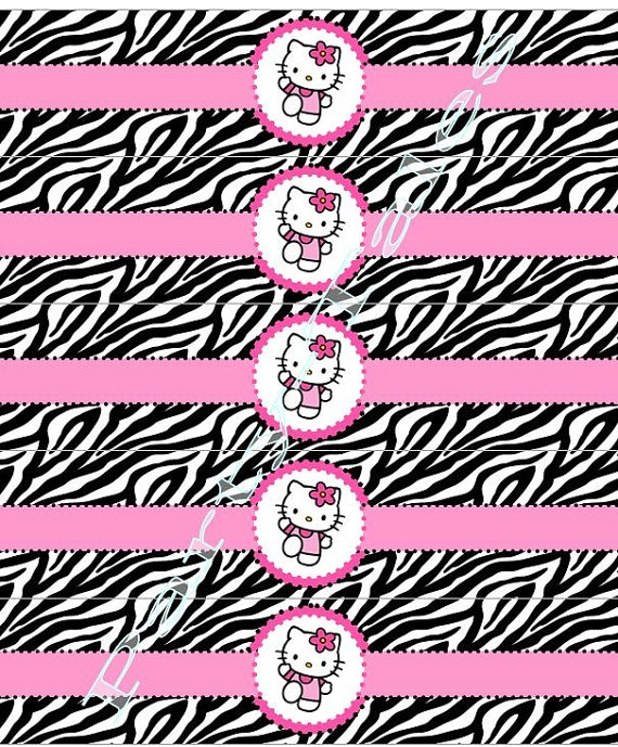 Hello Kitty WATER BOTTLE Labels Zebra Birthday Girl Party Custom Printable Personalized PartyTales