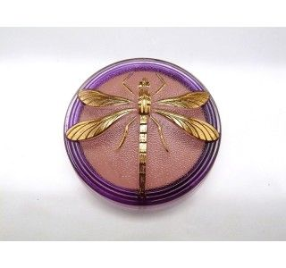 Cabochon Pink-Purple Crystal with Gold Dragonfly