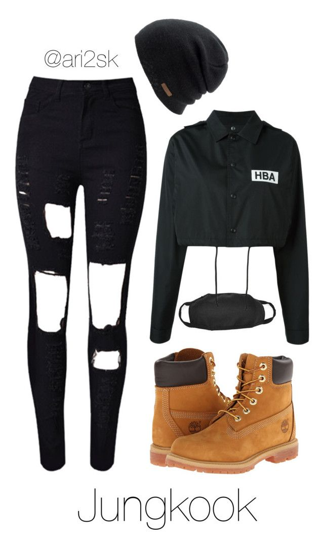 """""""Nyc with BTS- Jungkook"""" by ari2sk ❤ liked on Polyvore featuring WithChic, Coal, Timberland and Hood by Air"""
